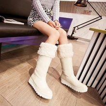 Nuevo 2014 Invierno Rodilla Botas de nieve Plataforma de Las Mujeres Botas de Montar cuñas de Alta de La Pierna Botas de Tacón Bajo de LA PU Zapatos de Cuero(China (Mainland))