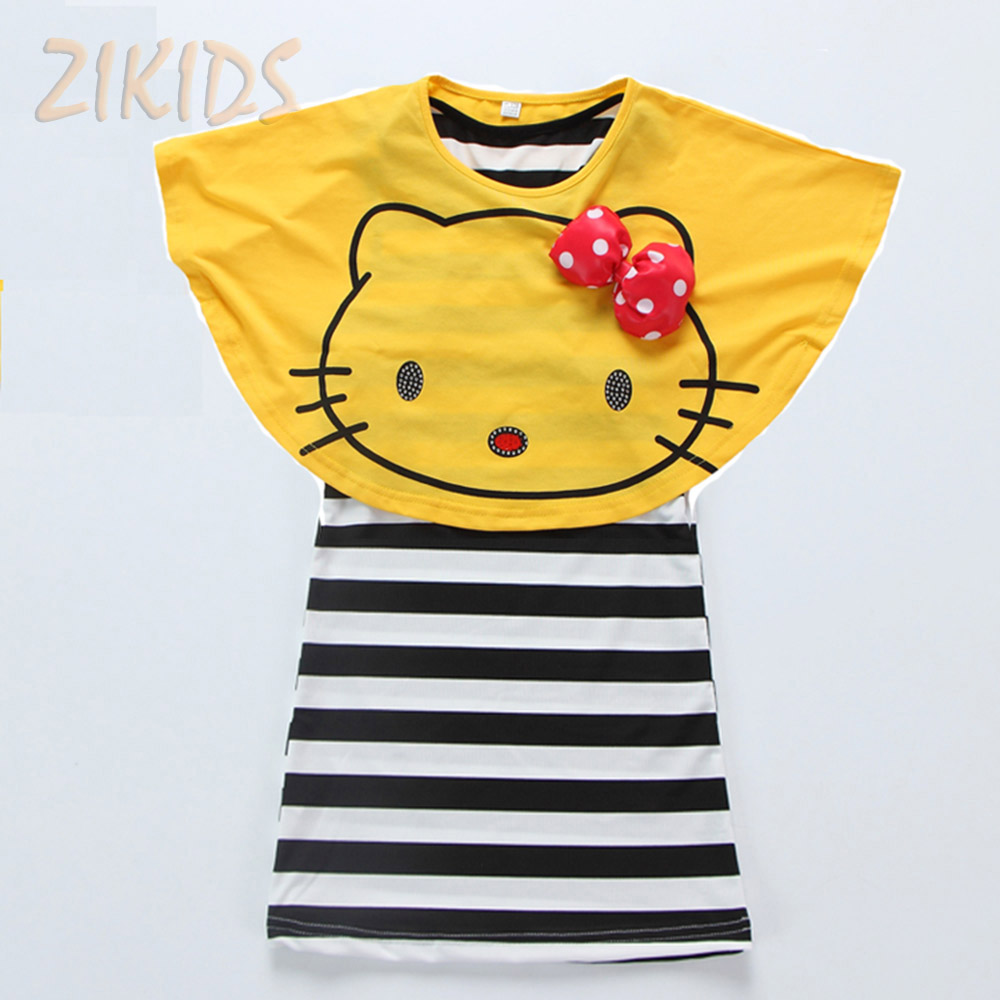 Hello Kitty Girl Dress Casual Summer Style Striped Mini Dresses + Bat Shirts Girls Clothing Sets Children Brand Kids Clothes(China (Mainland))