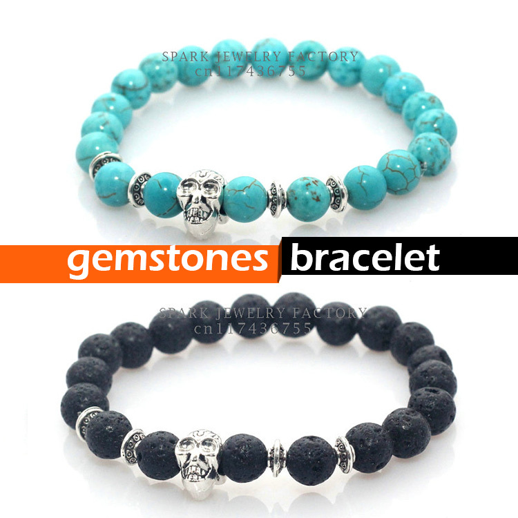 2015 New fashion natural stones skull bracelet Lava stone beads and tiger eye stone beads men bracelet(China (Mainland))