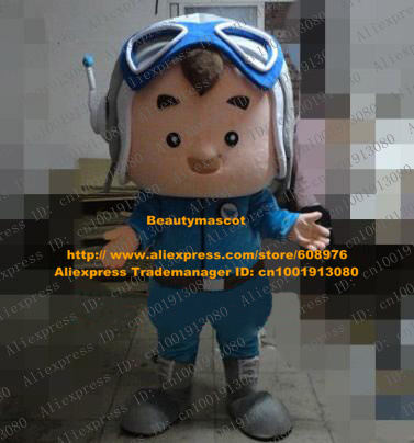 Gifted Flesh Pink Aircraft Aviator Pilot Flyer Mascot Costume Cartoon Character Mascotte Adult Blue Clothes Gray Shoes ZZ731 FS(China (Mainland))