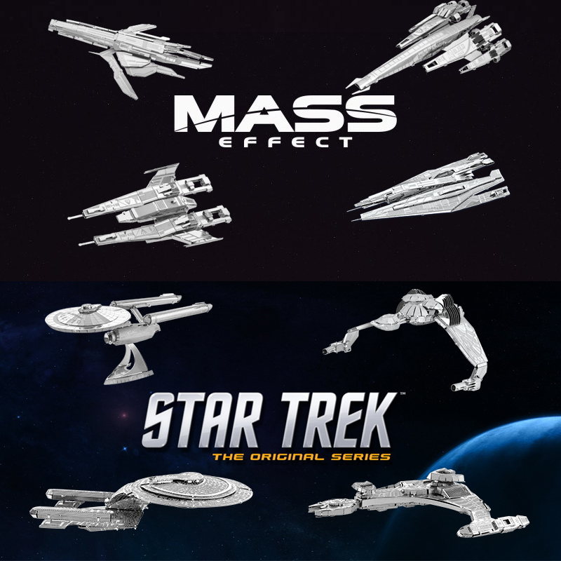 Chinese Metal Earth MASS&STAR TREK 3D Metal model Etching Puzzles DIY 8PCS/a lot NCC1701 creative gifts(China (Mainland))