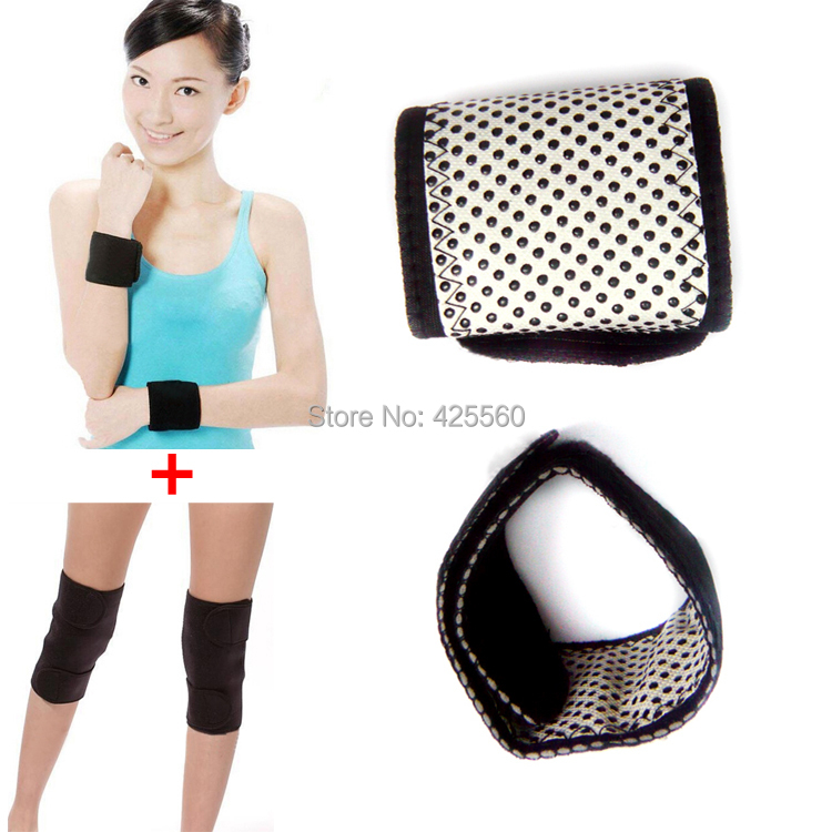 Tourmaline Self Heating Magnetic Therapy Wrist Support & Kneepad Support Tourmaline Knee Belt Massage Free Shipping(China (Mainland))