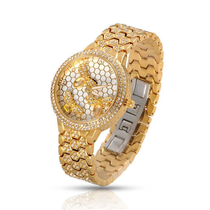 Watch Women Stainless Steel Rhinestone Golden/Silver Quartz Wristwatches Luxury Brand Women Dress Watches Gift For Ladies(China (Mainland))