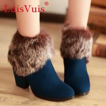 Media del tobillo envío gratis corto natrual reales cuero genuino del alto talón mujeres nieve zapatos de la bota R2475 tamaño del EUR 32-43(China (Mainland))