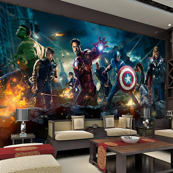 3 D Mural Tapete The Avengers Hulk Captain Americ Thor Photo Movie poster Custom Wall Mural Kids room Nursery Wallpaper(China (Mainland))