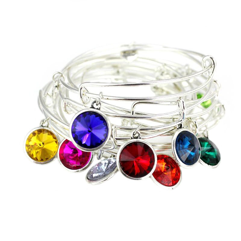 Silver Plated Birthstone Charm Expandable Wire Bracelet Bangle For Women Love Charms Best Friend Birthday Gifts Pulseiras(China (Mainland))