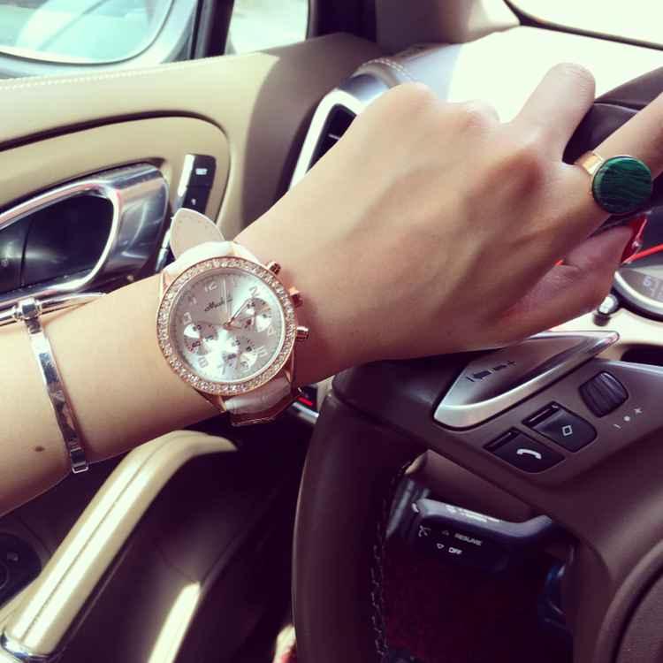 Женская мода Кварцевые Часы Rhinostone Кожа Наручные Часы Женщины Бизнес Спорт Платье Часы Часы Час Relogio Feminino OP001