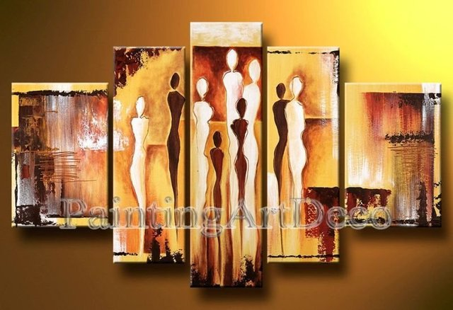 hand-painted canvas art The Pedestrian street  High Q. Decor Landscape canvas painting 5pcs/set  ready to hang Framed