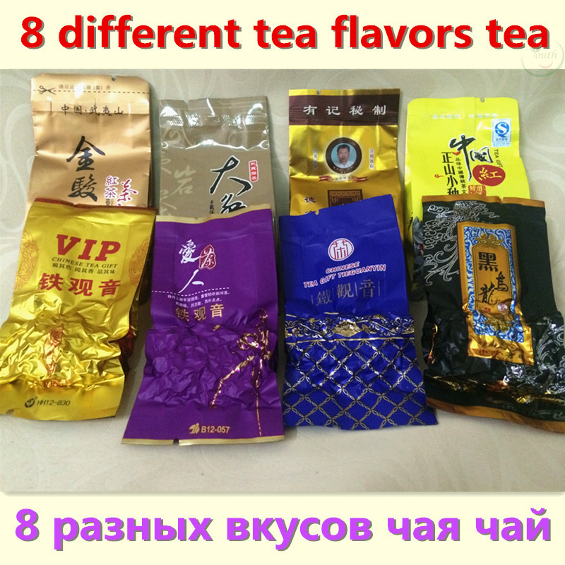 8 Different Flavors Famous Tea Chinese milk Oolong tea Green herbal puer Black Tieguanyin Lapsang souchong DahongpaoTea gift(China (Mainland))