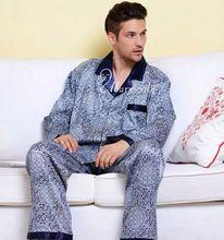 Mens Silk Satin Pajamas Set  Pajama Pyjamas PJS Sleepwear  Set  Robe Robes Nightgown  U.S.S  M  L XL 2XL 3XL Plus Blue Brown(China (Mainland))