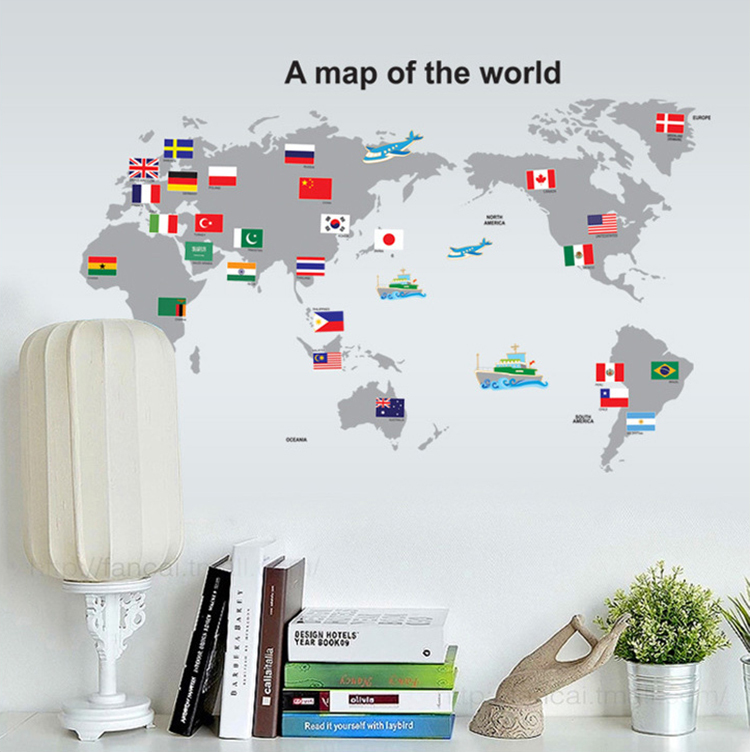 Maps Wall Decoration Room New Arrival World Map Wall Stickers Home Decor Living Room Diy Art