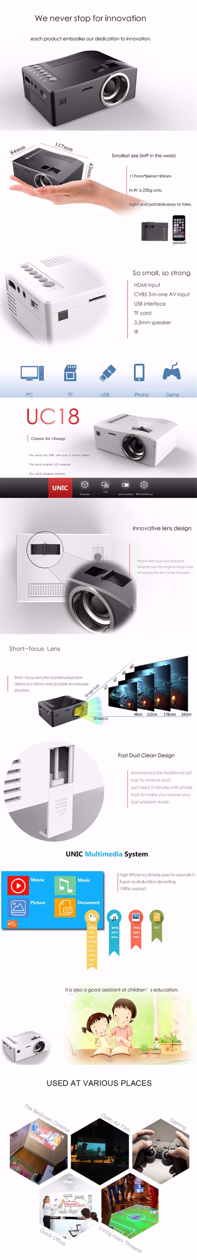 Original UNIC UC18 Mini Pico Portable 3D Projector Support 1080P video with HDMI TF Card USB CVBS LED for Home theater Cinema