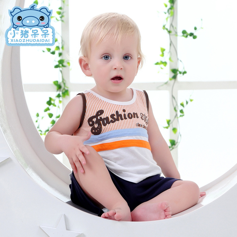 Summer Brand Baby Set Baby Boy Vest +Shorts 2 Pieces Set Newborn Baby Clothing Sets Boy Cotton Infant Bebes Suits Top Quality(China (Mainland))