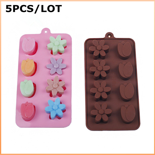 5PCS/LOT Silicone Beauty Flowers Shape Cake Decorating Bakeware Mold Soap Chocolate Kitchen Cooking Tools Food Dessert Making(China (Mainland))
