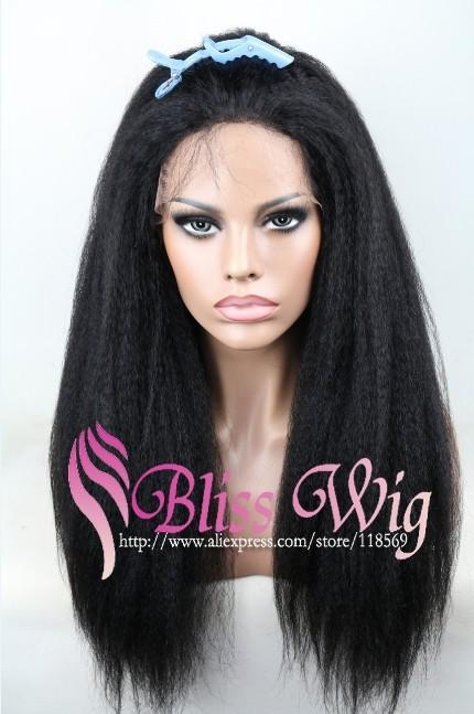 Cheap Italian Yaki African American Wig Glueless Brazilian Virgin Remy Human Hair Kinky Straight Lace Front Wigs For Black Women(China (Mainland))