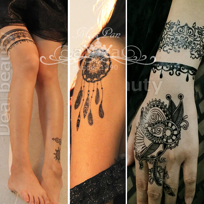 20pcs wholesale lace tattoo 2 color henna tattoo for Wholesale temporary tattoos