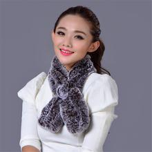 Elegant Women Winter Neck Warmer Real Rex Rabbit Fur Scarf Ring Fashion Ladies Wraps Bandana Lovely Sweet Girl Best Gift Scarves(China (Mainland))