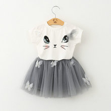 Girls Clothing Sets New Summer Fashion Style Cartoon Kitten Printed T-Shirts+Mesh Mini Skirt 2Pcs Girls Clothes Sets