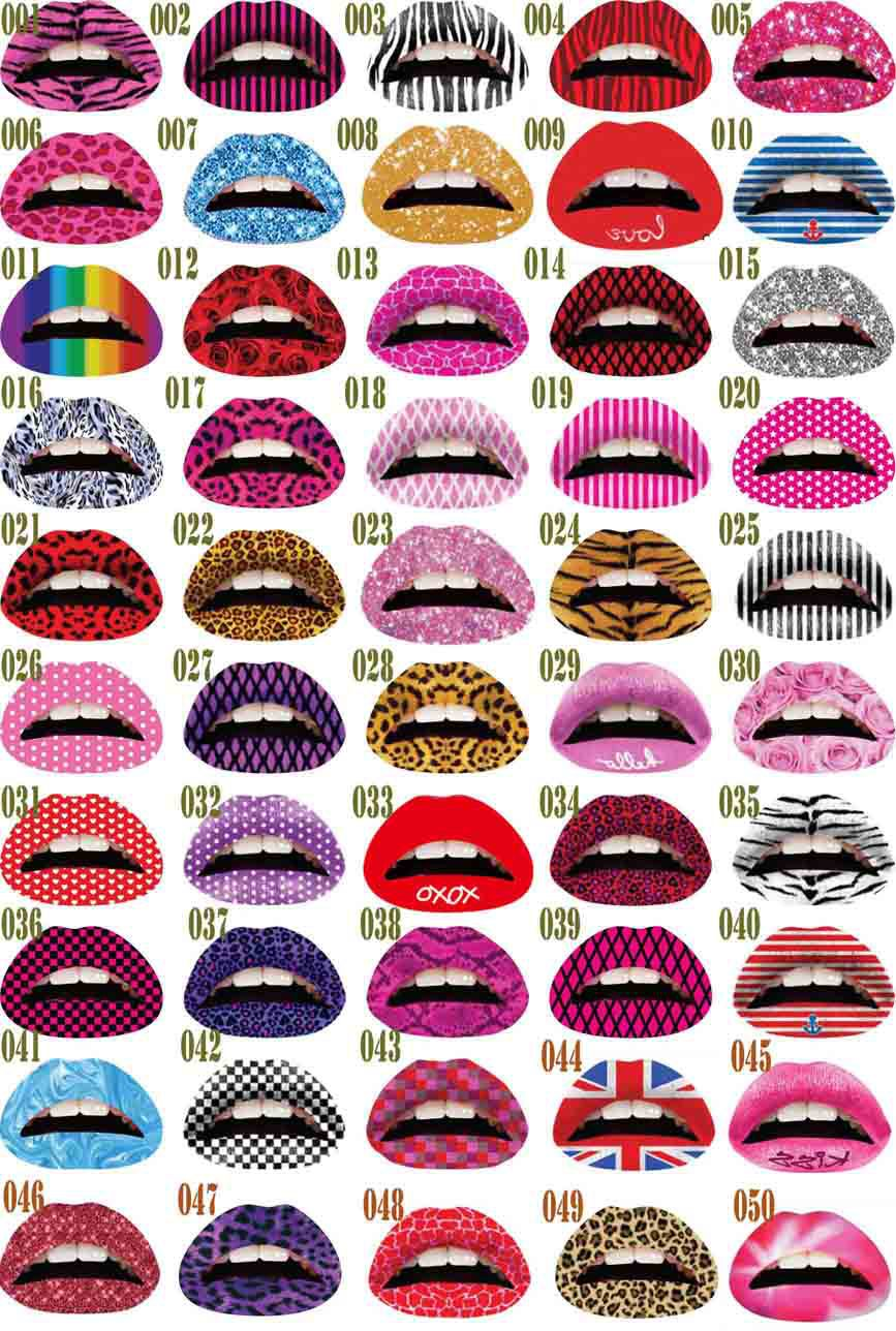 Wholesale Sexy 50pcs Mix color Lip Sticker Transfer Disposable Lips Tattoo Lip stick Art Makeup for Party/cosplay Free Shipping(China (Mainland))