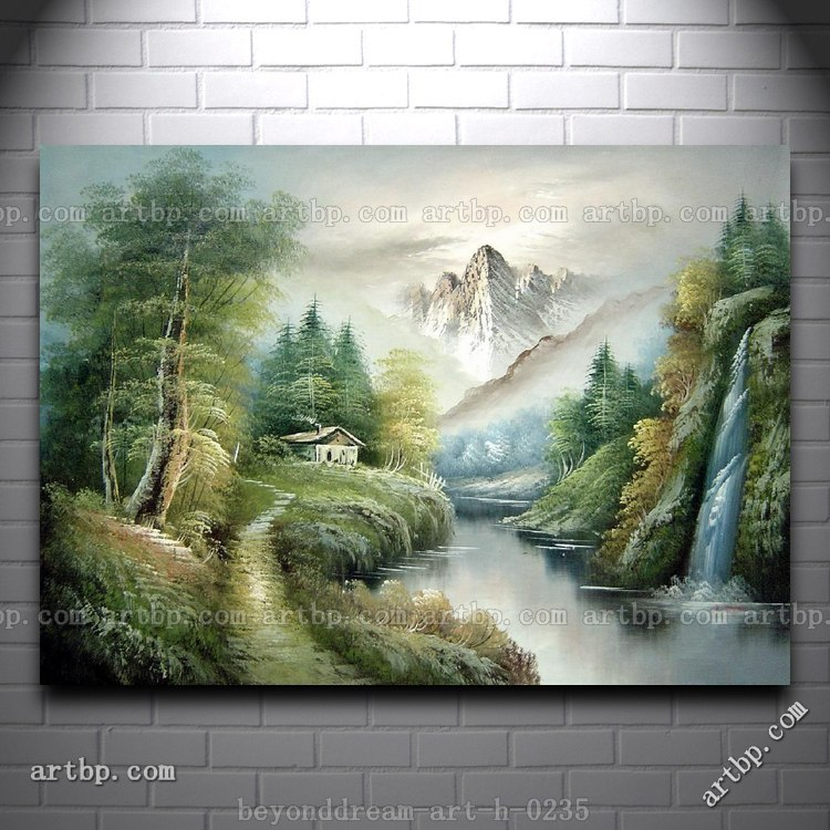 River Trail Mountain Waterfall Cottage Oil Painting