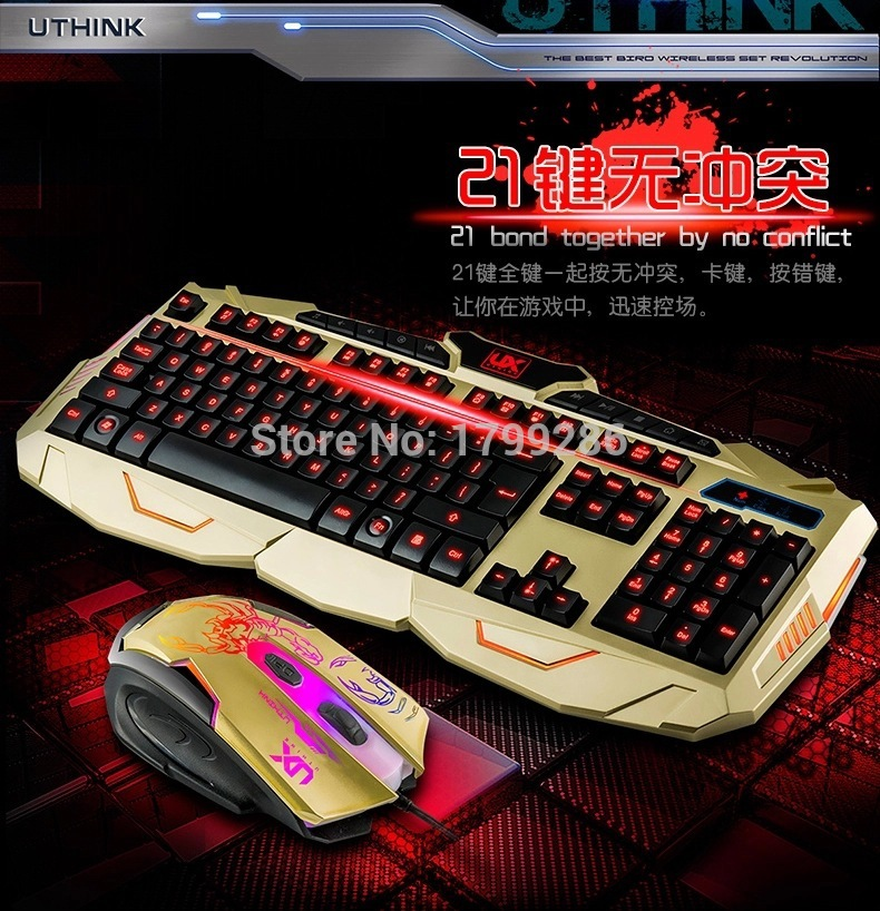 Professional gaming Keyboard v-100 backlight keyboard led keyboard computer wired mouse and keyboard set(China (Mainland))