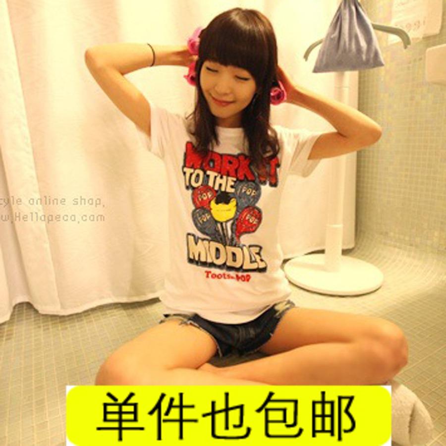 100% cotton white t-shirt Women short-sleeve cartoon letter print slim casual summer juniors clothing clothes(China (Mainland))