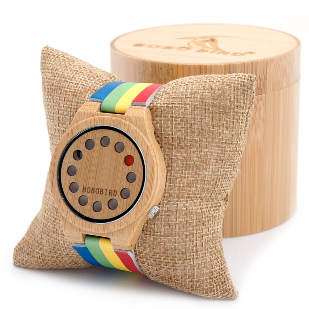 Bobobird BB203 Womens Ladies 12Holes Design Bamboo Wooden Watches with Colorful Leather Band in Gift Box Dropshipping