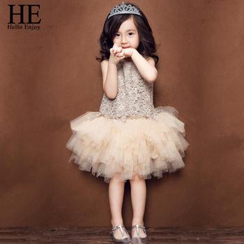 HE Hello Enjoy Girl Dress Summer New Lace Vest Baby Girl Princess Dress Chlidren Clothes Kids Party Costume Ball Gown Beige