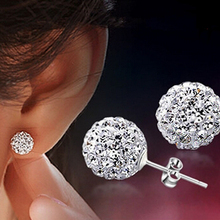 10 Colors Shamballa earring 2016 New boucle d'oreille femme Statement Silver color Doubled Side stud earrings For Women E1648(China (Mainland))