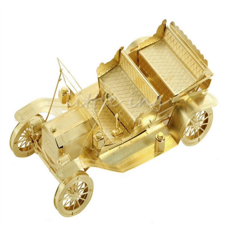 1908 Ford Motor Car 3D jigsaw puzzles Gold Model Building Kits metal Assembled DIY Vehicle Intelligence enfeites(China (Mainland))
