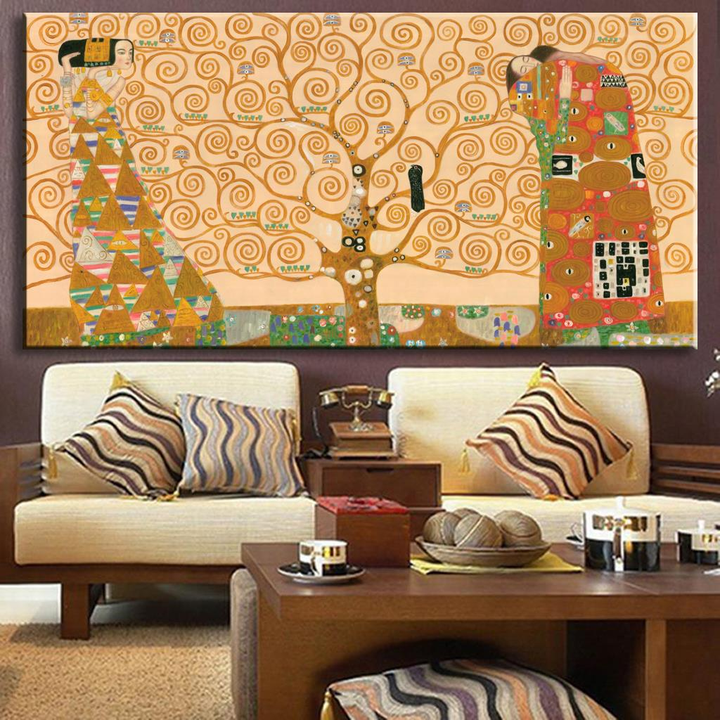 Huge Hand Paint Oil Painting Replica Of The Tree Of Life From Gustav Klimt oil painting wall pictures gustav klimt painting(China (Mainland))
