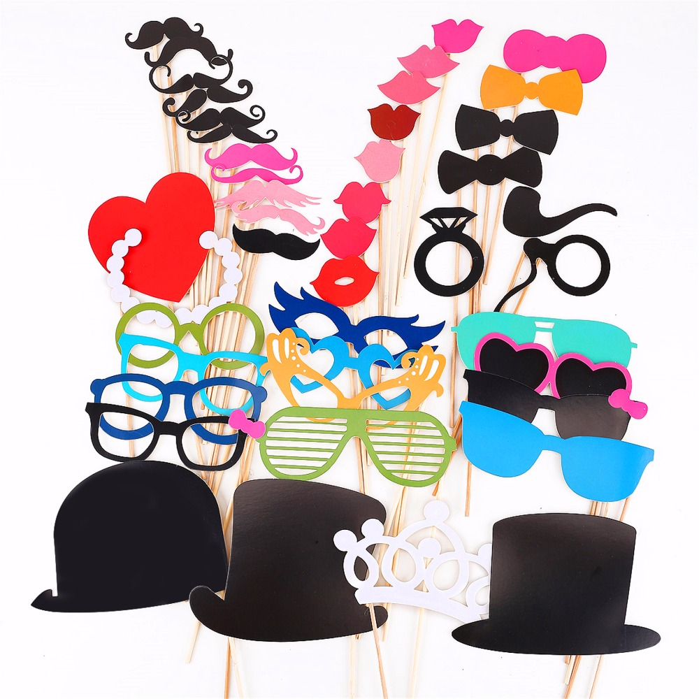Photo Booth 46Pcs/Set Party Masks Photobooth Props Funny Lip Hat Mustache Event&Party Supplie Birthday Wedding Party Decorations(China (Mainland))
