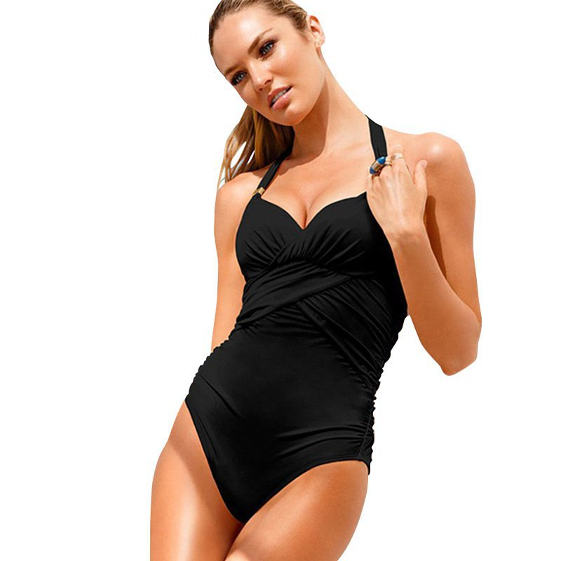 2015 New Arrivals Women Piece Swimsuit Conservative Pure Color High Elasticity Tight Swimsuits Classic Retro Swimsuits Hot Sale(China (Mainland))