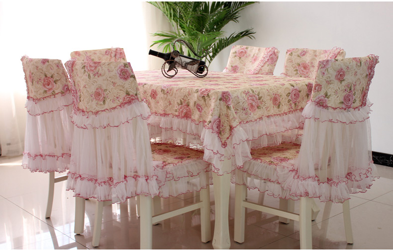9pcs Lace Dining Table Cover Set Classic Beautiful Rose Flower Tablecloth Chair Cushion Home Tabledress