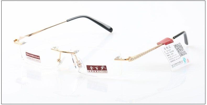 Rimless Reading glasses high-grade anti-Blu ray Diamond cutting edges gold men women reading glasses +1 +1.5 +2 +2.5 +3 +3.5 +4(China (Mainland))