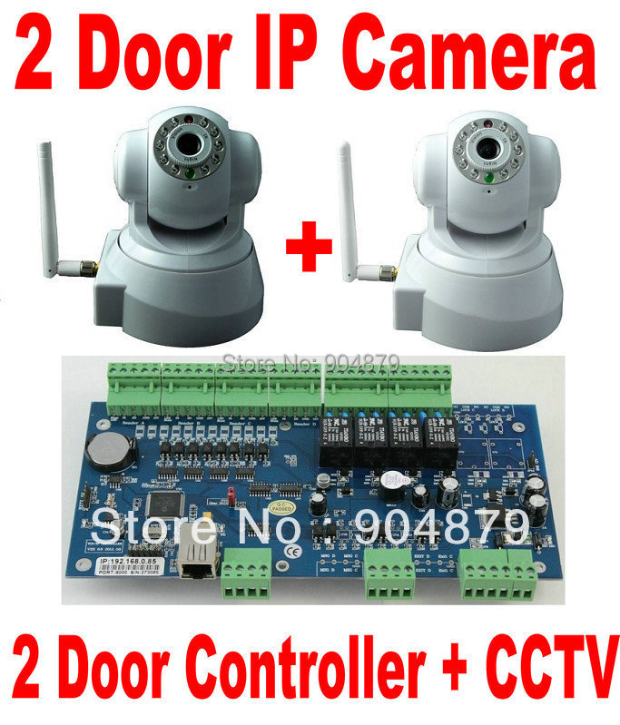 IP Camera CCTV Video Monitoring Camera+2 Door Access Controller Panel Board+TCP/IP+Web Browser IP Control+Software+Monitoring(China (Mainland))