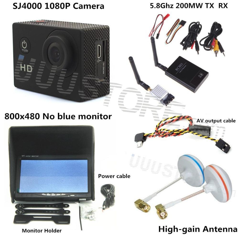 3KM RC FPV Video System 5.8Ghz transmitter receiver No blue monitor SJ4000 Camera for walkera CX20 DJI Phantom QAV250 F450