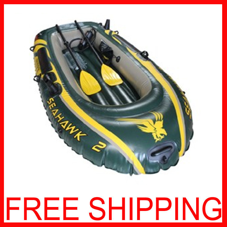 Double Boat Inflatable 236*114*41 PVC Dinghy Seahawks 2 folded Boat Banana Paddle A Rubber Boat Double Boat Inflatable(China (Mainland))
