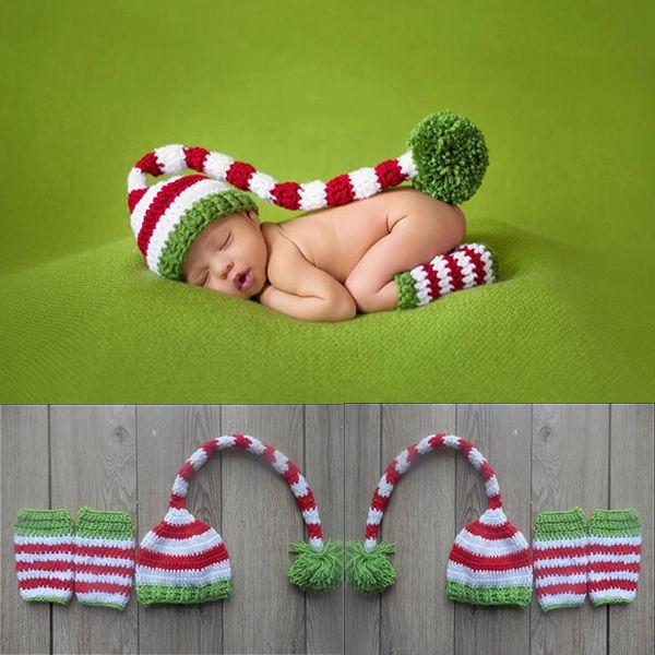 Гаджет  Christmas Design Hat Baby Handmade Beanies Costume Knitted newborn Long Tail Crochet photography props Newborn  Hat 0-12months None Детские товары