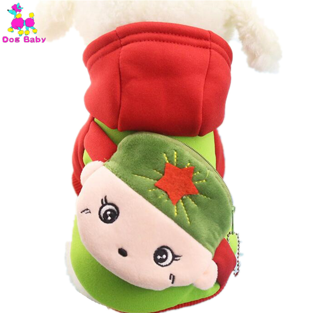 DOGBABY Dog Coat Jacket 100% Cotton Winter Pet Hoodies Hat Design Cute Cartoon Pattern Two Legs Dog Clothes Size XS S M L XL XXL