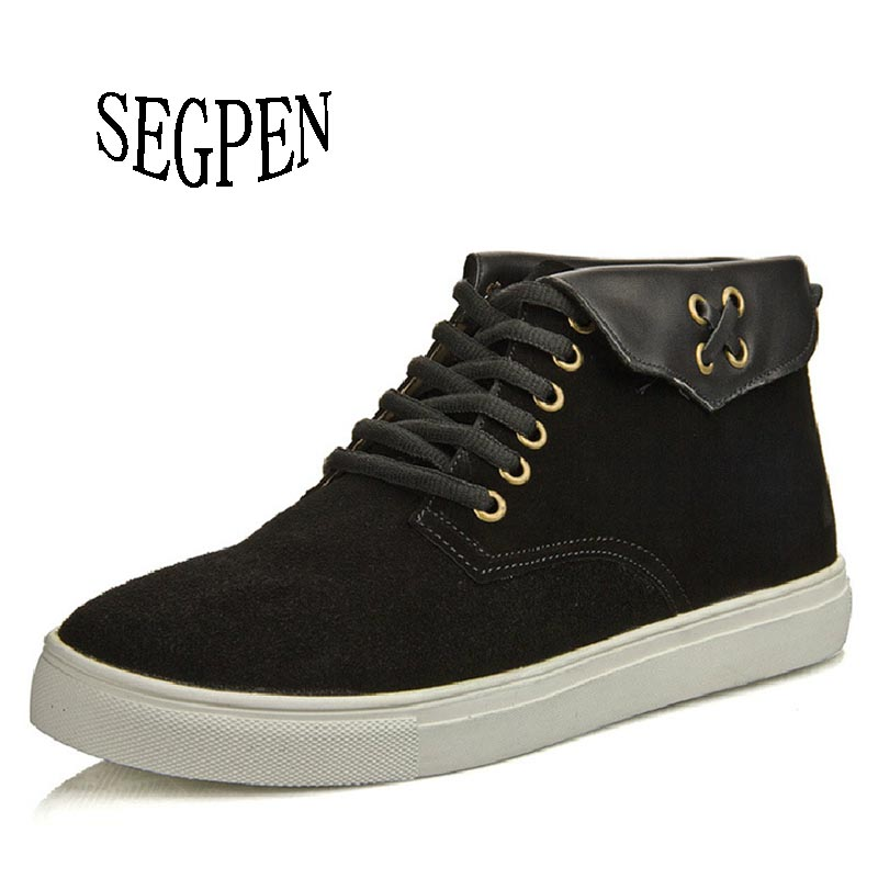 SEGPEN 2016 Fashion Men Winter Shoes Lace-up Ankle Boots,Warm Cotton Inside Street Motorcycle Boots <br><br>Aliexpress