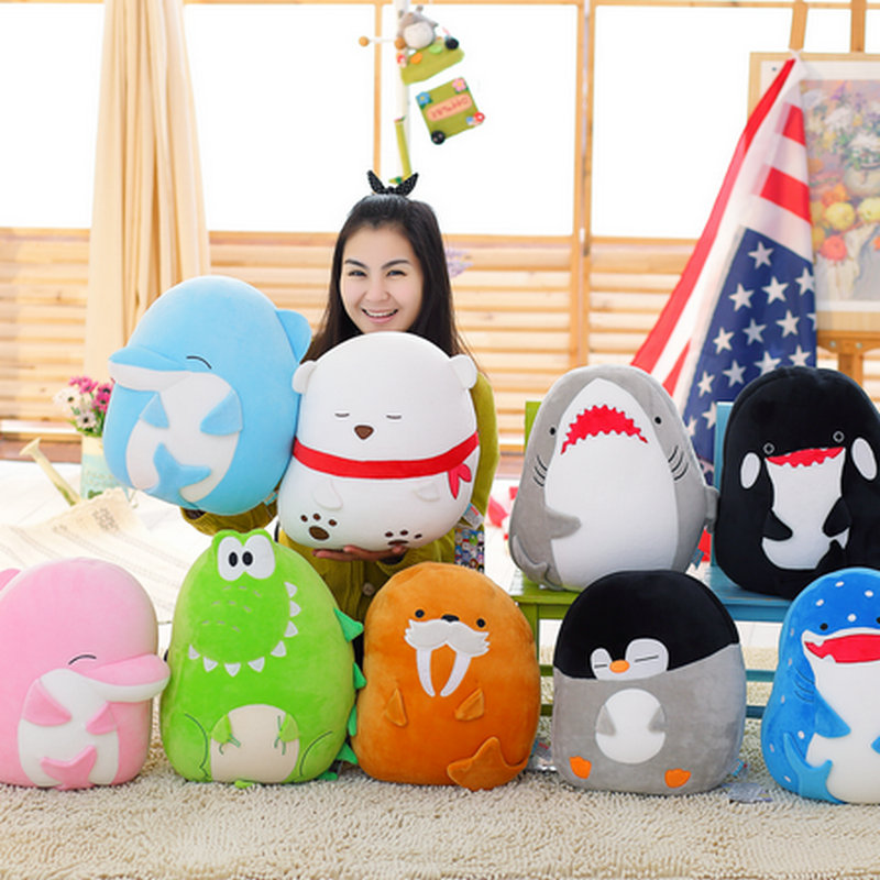 New Item 40cm High Quality Sea Animals Pillow Cushion Stuffed Nanoparticle Doll Dolphin polar bear Shark doll birthday gift(China (Mainland))