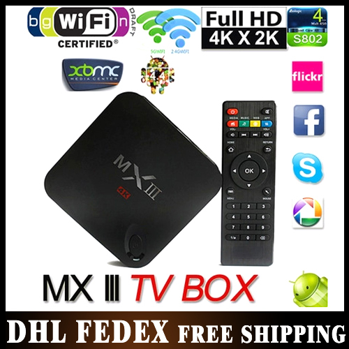 10PCS MXIII Amlogic S802 Quad Core 2.0GHz Android TV Box 2G/8G Dual Band 2.4G/5G WIFI Bluetooth Built in XBMC Media Player Stock(China (Mainland))