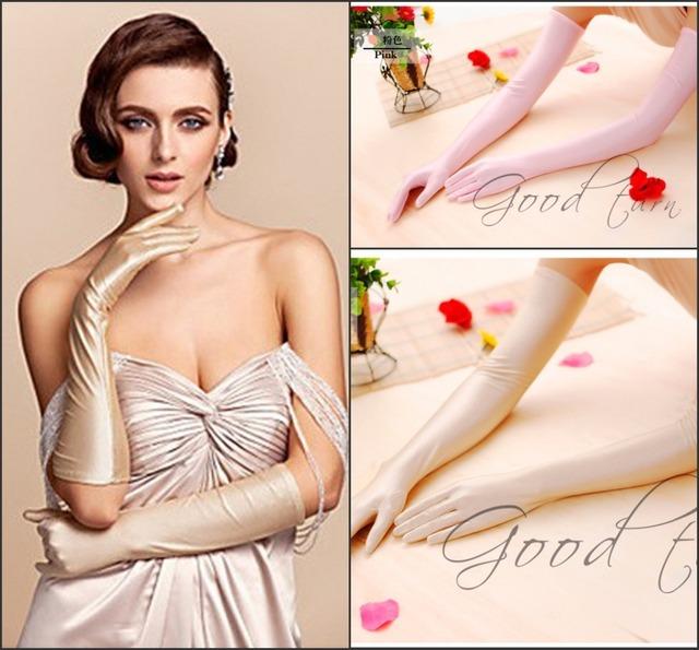 Современные женщины мода длинные перчатки опера свадебные перчатки красочные женщины ...