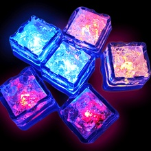 12PCS/SET Party Supplies Glow in Water 7 Colors Light Sparkling Ice Cubes Event Party LED Luminous Ices(China (Mainland))