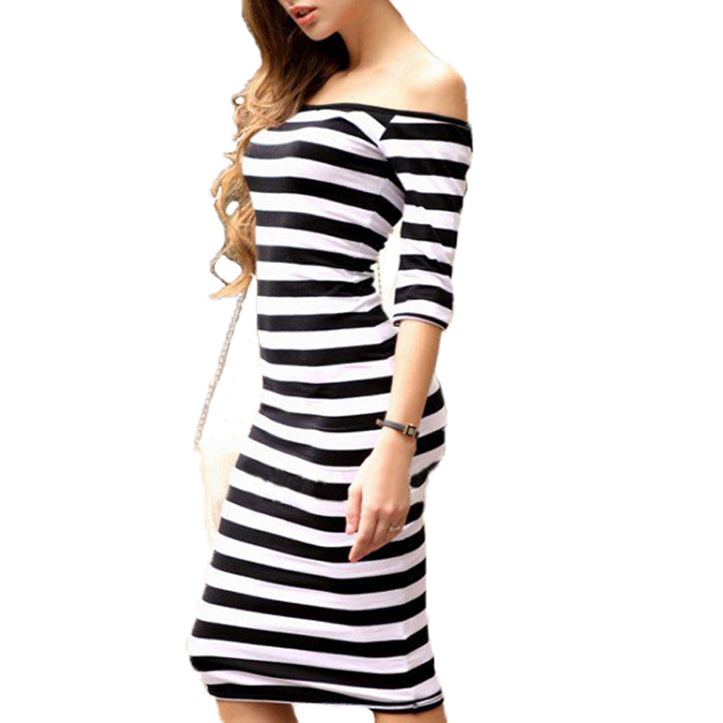 Tee Shirt Femme Sexy Off The Shoulder Strapless Striped T-shirt Half Sleeve Women's Fashion T-shirts Vestido Femininos Summer(China (Mainland))