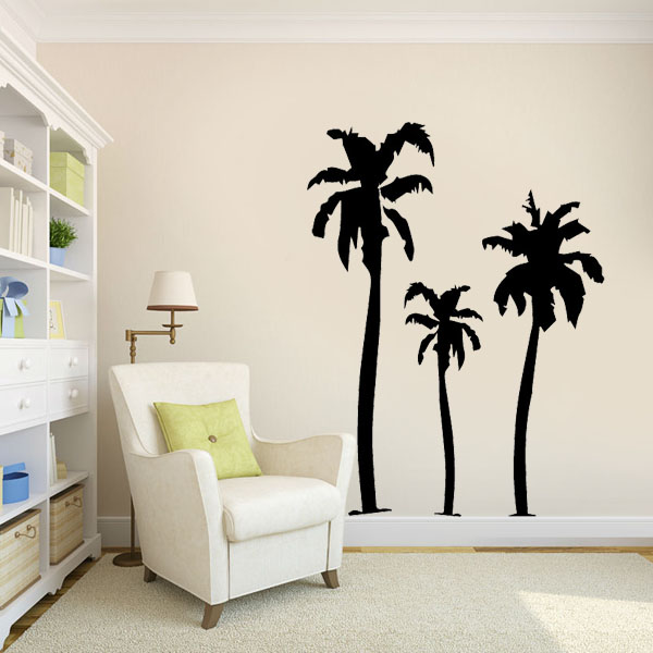 Palm tree wall stickers family wall decals nursery art for Palm tree living room ideas
