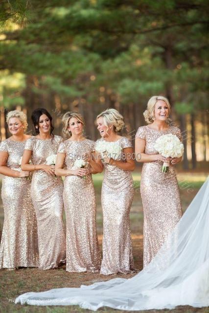 Золото длинные вечерние платья блестками коротким рукавом длиной до пола дешевое ...