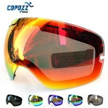 Lens for ski goggles COPOZZ GOG-201 anti-fog UV400 large spherical ski glasses snow goggles eyewear lenses (China (Mainland))