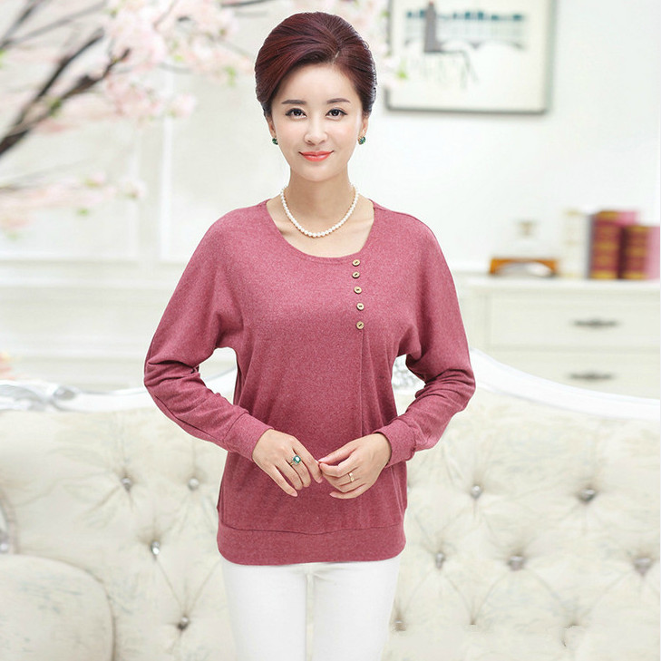 Promotions Mother O Neck Big Size Tops Shirts Fall/Winter Middle Age Women Five Button Bottoming Shirt Knitwear T-Shirts XL-4XL(China (Mainland))
